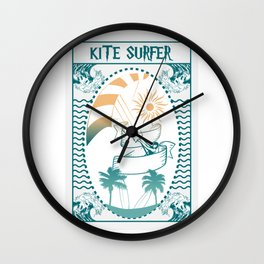 Kite surfing | gift for wave rider Wall Clock