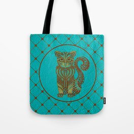 Zentangle  Cat Embossed on Faux Leather Tote Bag