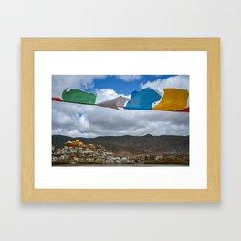 Prayer Flags at Ganden Sumtseling Monastery Framed Art Print