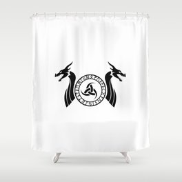 Norse Dragon - Triple Horn of Odin Shower Curtain