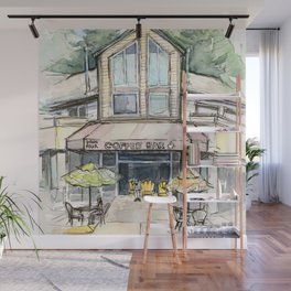 Coffee Shop Art Urban City Watercolor Wall Mural