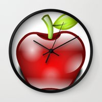apple Wall Clocks featuring APPLE by Acus
