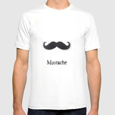 Mustache MEDIUM White Mens Fitted Tee