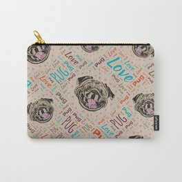 Cute Pug dog Word pattern Carry-All Pouch