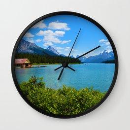 Maligne Lake Boat House in Jasper National Park, Canada Wall Clock