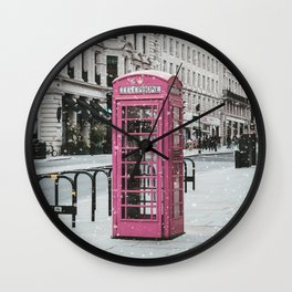 Pink Telephone Booth Romantic Photography Wall Clock