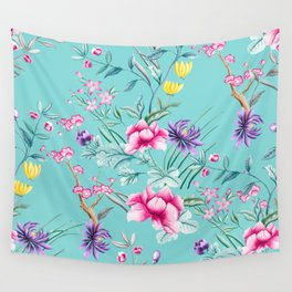 Chinoiserie Decorative Floral Motif Pale Turquoise Wall Tapestry