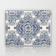 Floral Diamond Doodle in Dark Blue and Cream Laptop & iPad Skin