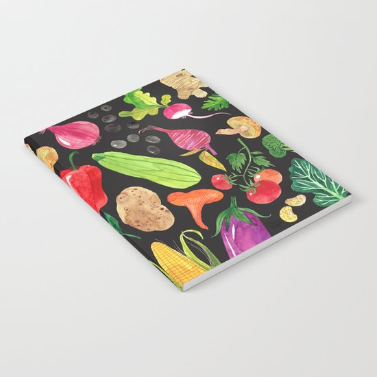 VEGGIES in black Notebook