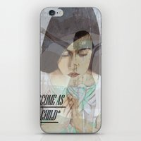 "religious iPhone & iPod Skins featuring ""COME AS A CHILD"", religious art by Saribelle by Saribelle Inspirational Art"