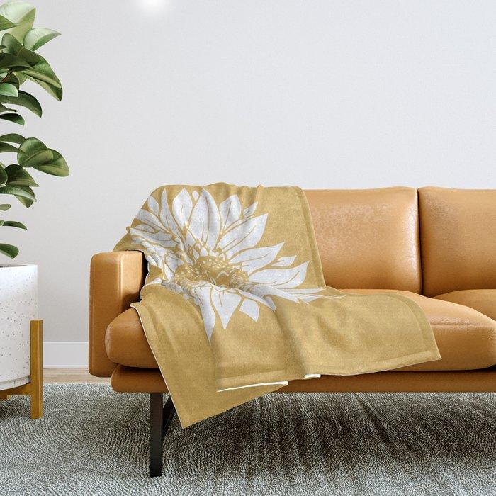 Yellow Sunflower Drawing Throw Blanket