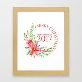 Merry Christmas 2017 Colorful Flowers Christmas Bouquet Framed Art Print