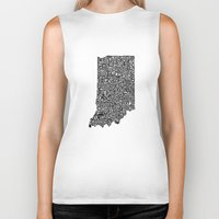 indiana Biker Tanks featuring Typographic Indiana by CAPow!
