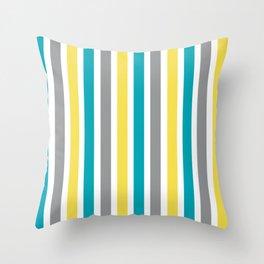 Aqua, Gray and Yellow Stripes Pattern Throw Pillow