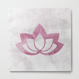 Pink Lotus Flower on Gray Metal Print