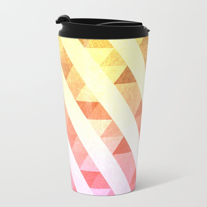 Triangles Lines Pattern Metal Travel Mug