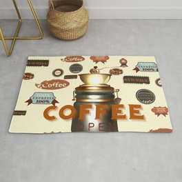 coffee poster vector illustration in retro style Rug