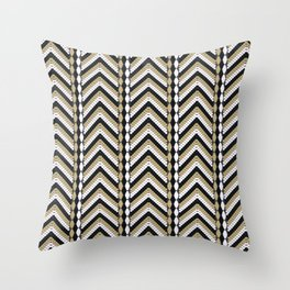Tribal gray brown ornament Throw Pillow