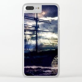 Lahaina Whaling Ship Moonrise Clear iPhone Case