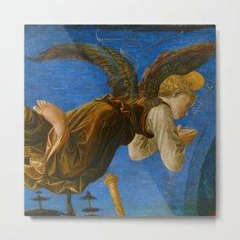 "Francesco Pesellino and Fra Filippo Lippi ""The Pistoia Santa Trinità Altarpiece"" angel 1. Metal Print"