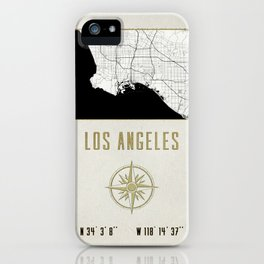 Los Angeles - Vintage Map and Location iPhone Case