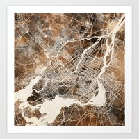 montreal Art Prints featuring Montreal by Map Map Maps
