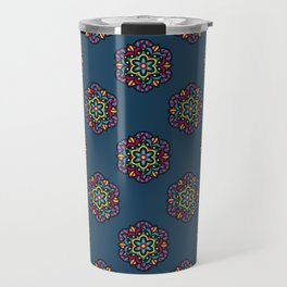 Cosmic Bloom Psychedelic Mandala Pattern Travel Mug