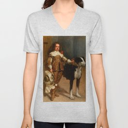 """Diego Velázquez """"Portrait of a Buffoon with a Dog"""" Unisex V-Neck"""