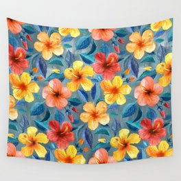 Colorful Watercolor Hibiscus on Grey Blue Wall Tapestry
