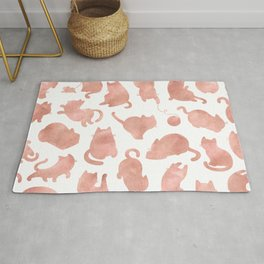 Cat Pattern Rose Gold Kitty Cats Rug