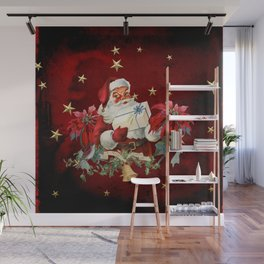 Santa Claus with gifts and christmas flower Wall Mural