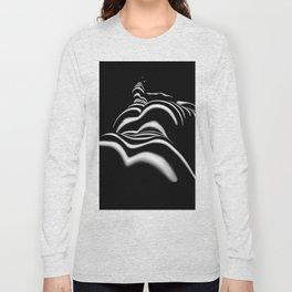 8903-SLG Sensual Nude Woman Back Shoulders Butt Erotic Curves Black & White Zebra Stripes Long Sleeve T-shirt