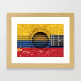 Old Vintage Acoustic Guitar with Colombian Flag Framed Art Print