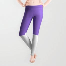 White and Dark Pastel Purple Horizontal Halves Leggings
