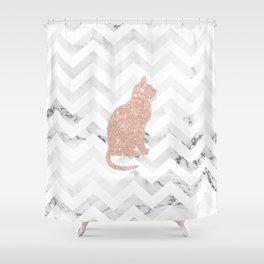 Modern rose gold glitter cat on white marble chevron pattern Shower Curtain