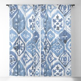 Arabesque tile art Sheer Curtain