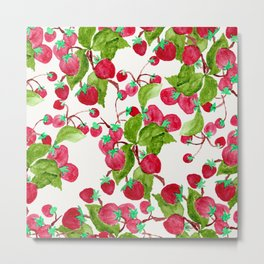 Watercolor hand painted red green strawberries Metal Print