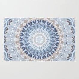 Serenity Mandala in Blue, Ivory and White on Textured Background Rug