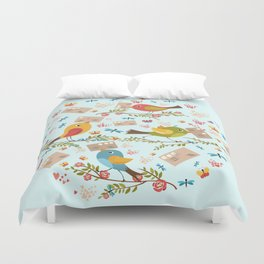 Special Springtime Delivery From Little Birds Pattern Duvet Cover