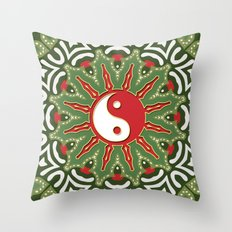 Red Yin Yang Sun Festive Mandala Throw Pillow