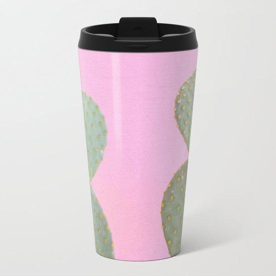 Pink Cacti Metal Travel Mug