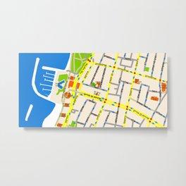 Tel Aviv Map - Gordon beach Metal Print