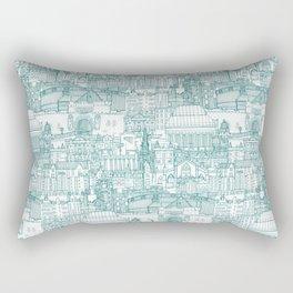 Edinburgh toile teal white Rectangular Pillow