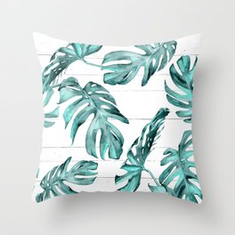 Turquoise Palm Leaves on White Wood Throw Pillow