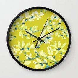 Watercolor Floral Twig Spring Allover Print Design Wall Clock