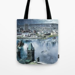 Earth Falls Away Tote Bag