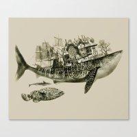 shark Canvas Prints featuring shark by Кaterina Кalinich
