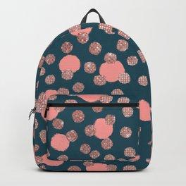 Girly Artsy Rose Gold Pink Polka Dots Backpack