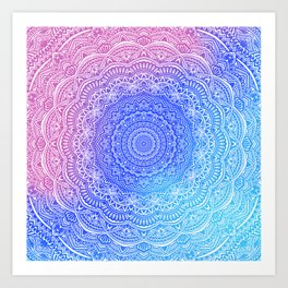 Beautiful colorful rainbow mandala Sophisticated ornament pink and violet cyan Art Print