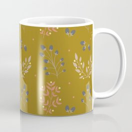 Mustard Yellow Fall Floral Coffee Mug
